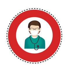 Sticker circular border with silhouette male nurse vector