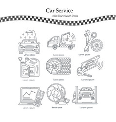 thin line pictogram symbols of car service vector image