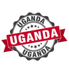 Uganda round ribbon seal vector