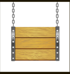 Wooden sign hanging on metal chain vector