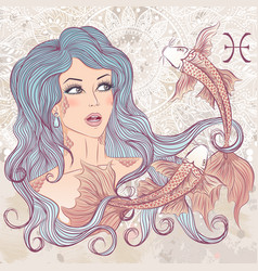 Pisces as a portrait of beautiful girl vector