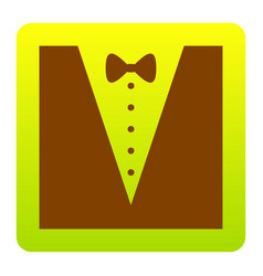 Tuxedo with bow silhouette  brown icon at vector