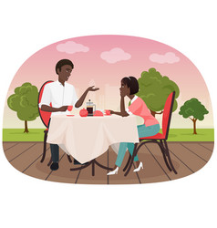 An african couple sitting in the cafe outside and vector