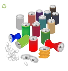 Soda cans with recycle symbol for save the world vector