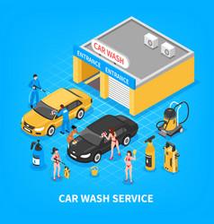 Car wash service isometric vector