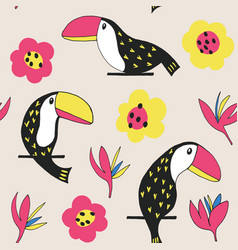 Toucan floral pattern vector