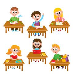 Elementary school kids in classroom - reading vector