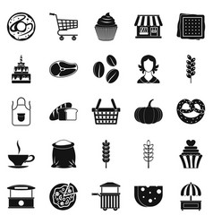 Afternoon snack icons set simple style vector