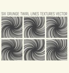 6 grunge twirl lines textures vector
