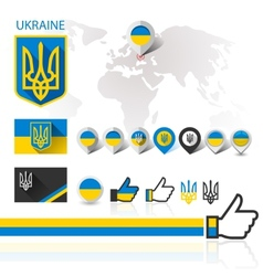 Flag emblem ukraine and world map vector