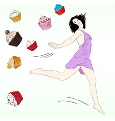 Diet concept with fancy sketchy cupcakes vector