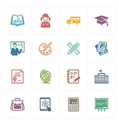 School and Education Icons Set 1 - Colored Series vector image