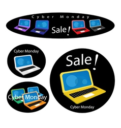 Mobile computer on cyber monday sale background vector