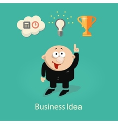 businessman and idea info graphic with gears hand vector image