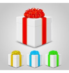 set of gift boxes with colorful ribbons vector image