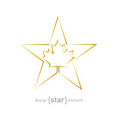 Golden Star with Canadian maple Leaf on white vector image