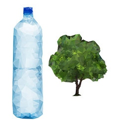 Bottle and tree vector