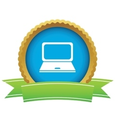 Laptop certificate icon vector