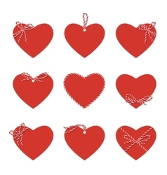 Hearts with bakers twine ribbons and bows vector
