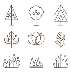 Plants and trees icons set linear style vector