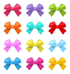 Set colorful simple gift bows isolated vector