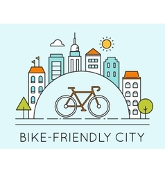 City and touring bike bike-friendly city sign vector