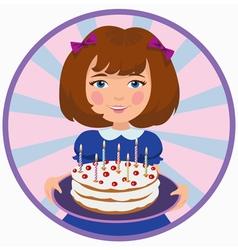 girl with sweet cake vector image