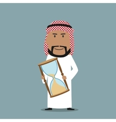 Arabian businessman with time out hourglass vector