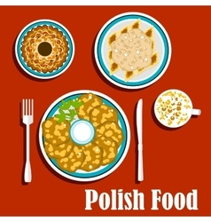 Traditional polish dishes and dessert vector