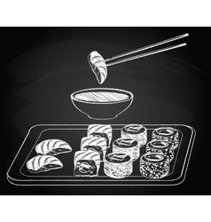 Sushi vintage on the chalkboard background vector