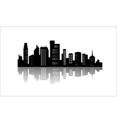 Silhouette of office buildings with reflection vector