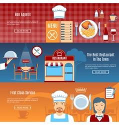 Restaurant Flat Horizontal Banners vector image