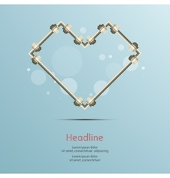 Steel pipe heart connect isolated background vector