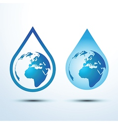 Earth water drop vector image