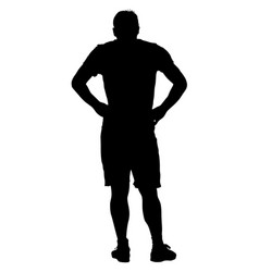 Black silhouette man holding hands on his hips vector