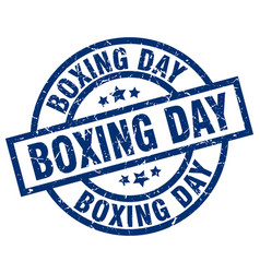 Boxing day blue round grunge stamp vector