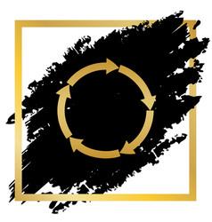 Circular arrows sign golden icon at black vector