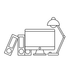 Computer and desk lamp icon vector