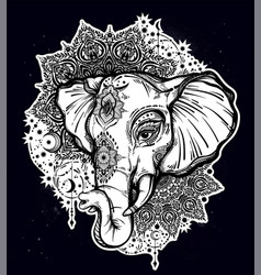 decorative elephant with tribal mandala ornament vector image