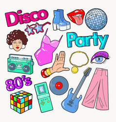 disco party vintage style doodle with guitar vector image vector image