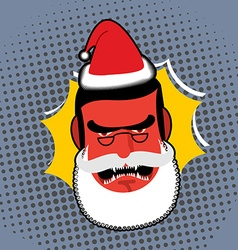 Evil angry santa claus red with anger person vector