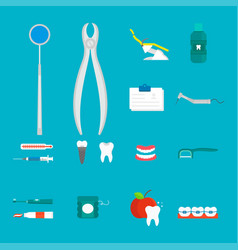 Flat health care dentist medical tools medicine vector