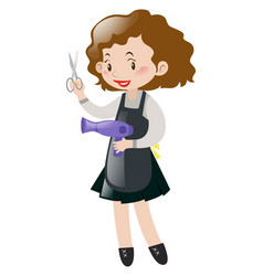 hairdresser holding scissors and blowdryer vector image