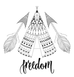 Hand drawn American native wigwam with ethnic vector image vector image