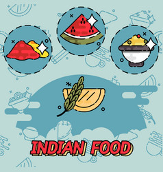 Indian food flat concept icons vector