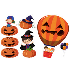 Jack-o-lantern and kids in costume vector