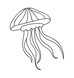 Jelly fish icon in outline style isolated on white vector