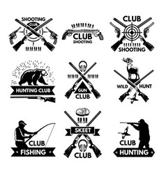 Labels and badges set for hunting club monochrome vector