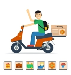 Man on scooter delivery vector