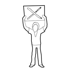 Man protest with sign icon outline vector